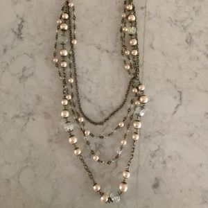 Jewelry - Pearl & Faux Silver Chandelier Necklace